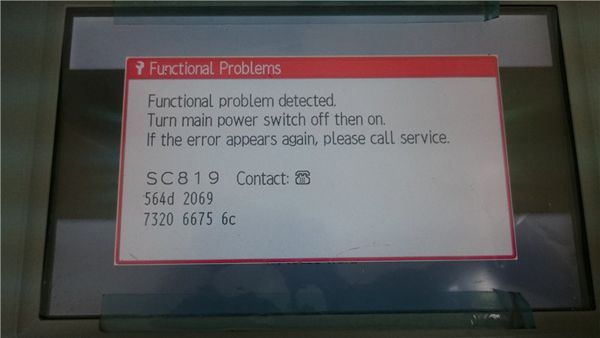 Error Code Ricoh MP5002 SC 819-00