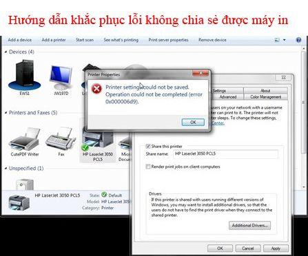 Lỗi không chia sẻ được máy in trong window 7, window 8, window 10