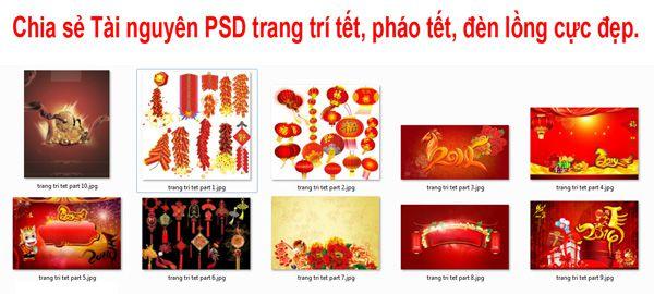 [PSD] Tài nguyên trang trí tết, pháo tết, đèn lồng, ngọc bội cực đẹp